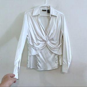 White Silky satin plunge blouse cross cross